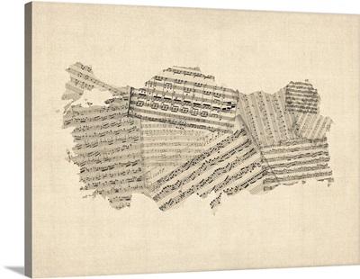 Old Sheet Music Map of Turkey Map