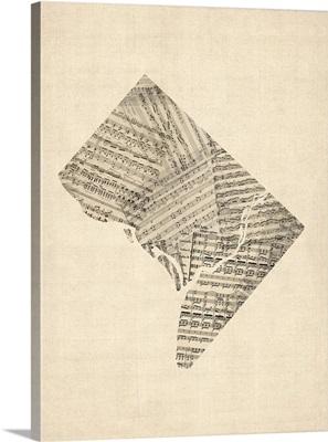 Old Sheet Music Map of Washington DC