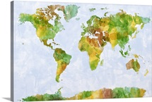 Paint map of the world - green