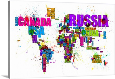 Paint Splashes Text Map of the World, Big