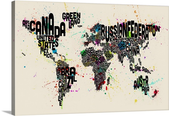 Paint Splashes Text Map of the World, Black Letters Wall Art, Canvas ...