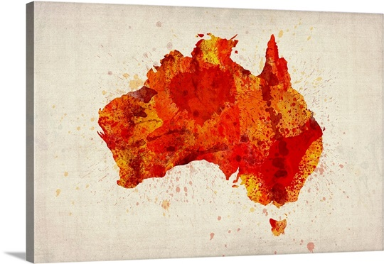 red paint splash paint splatter map of australia orange wall art canvas prints