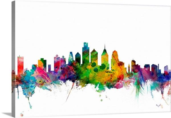 Philadelphia Pennsylvania Skyline Wall Art Canvas Prints Framed Prints Wall Peels Great Big Canvas