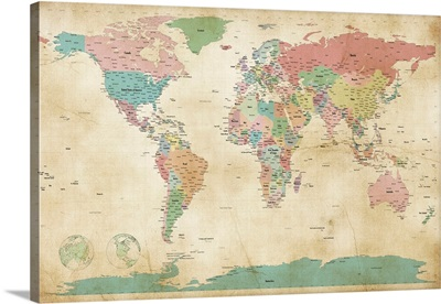 Political Map of the World Map, Antique