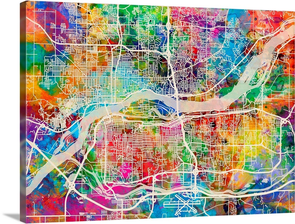 Quad Cities Street Map, Multicolor Wall Art, Canvas Prints, Framed on