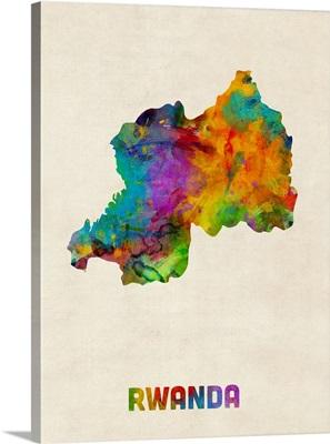 Rwanda Watercolor Map