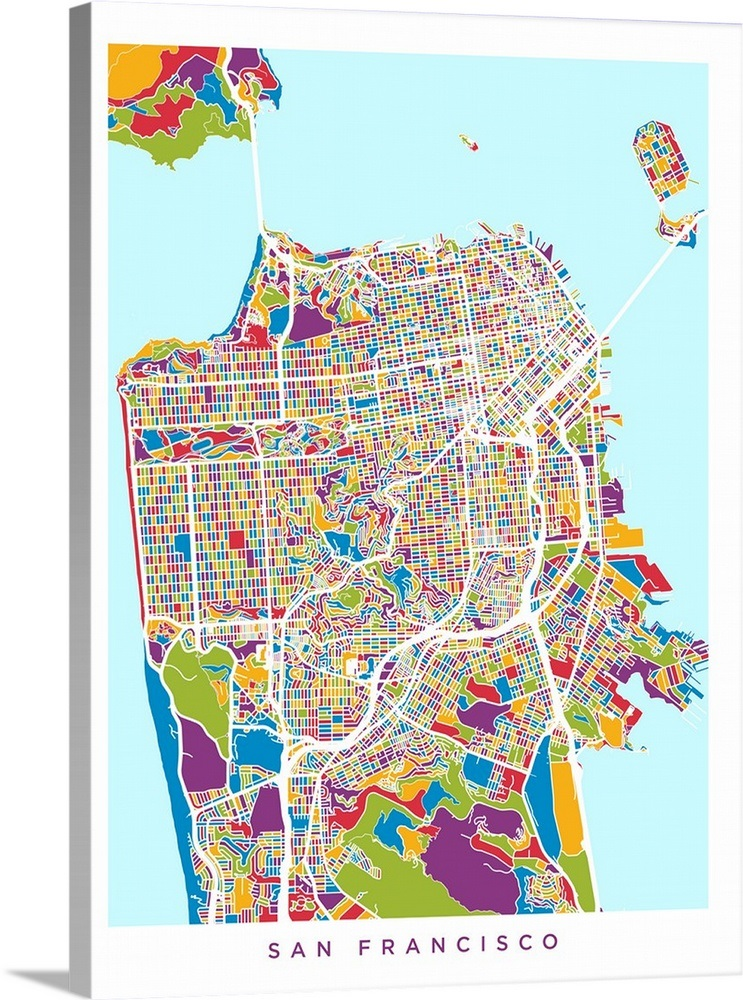San Francisco City Street Map Wall Art, Canvas Prints, Framed Prints ...