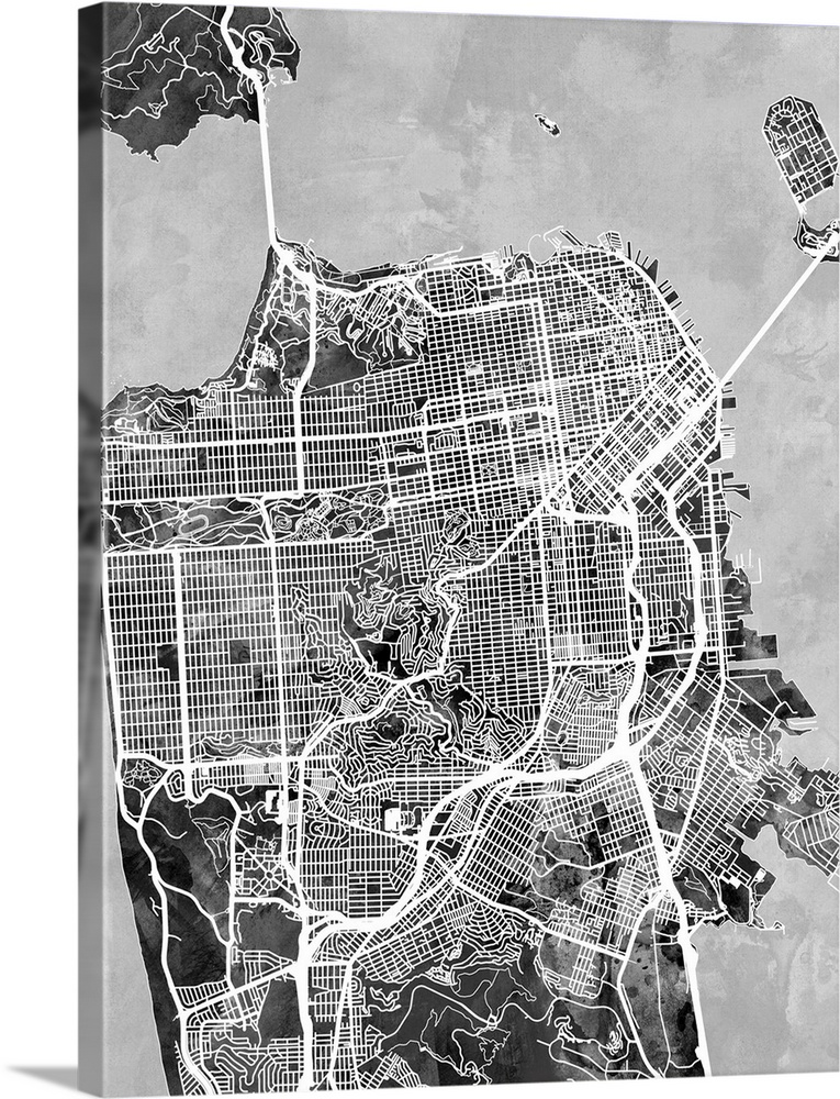 San Francisco City Street Map Black and White Wall Art Canvas