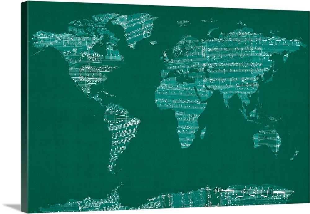 Sheet Music World Map, Green
