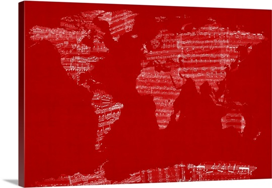 Sheet music world map red wall art canvas prints framed prints sheet music world map red gumiabroncs Images