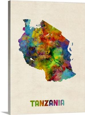 Tanzania Watercolor Map