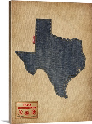 Texas Map Denim Jeans Style
