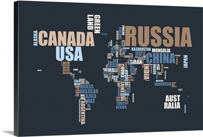 Text world map in muted colors