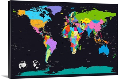Traditional world map on black background