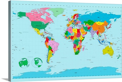 Traditional world map on blue background