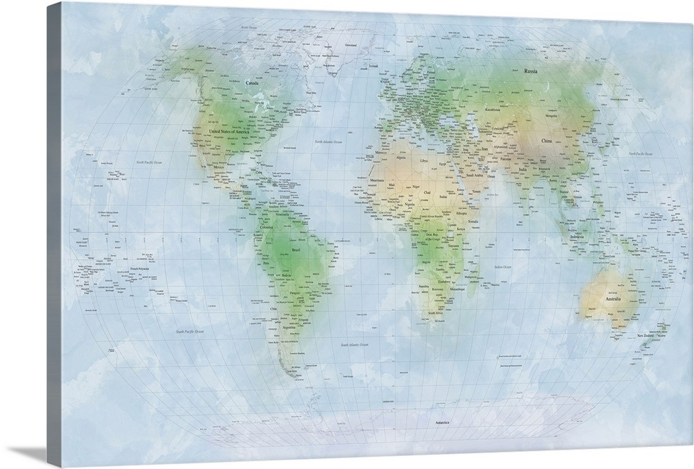 Traditional World Map With City Names Wall Art Canvas Prints