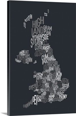 UK Map make up of County names - grayscale