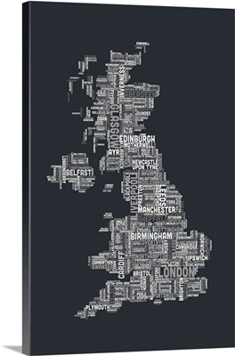 United Kingdom Cities Text Map, Grey