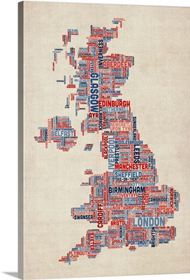 United Kingdom Cities Text Map, UK Colors on Parchment