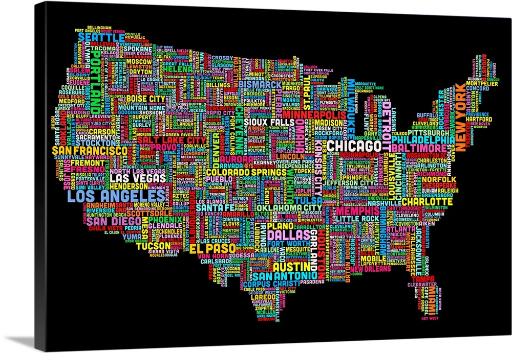 United States Cities Text Map Multicolor On Black Wall Art