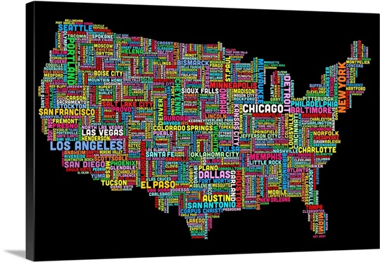 United States Cities Text Map Multicolor On Black Wall Art - Framed us map