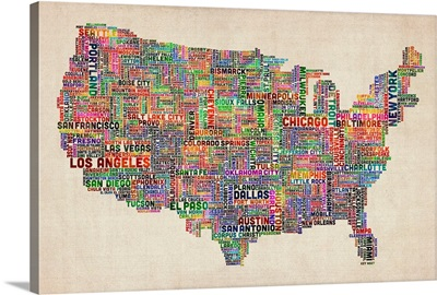 United States Cities Text Map, Multicolor on Parchment