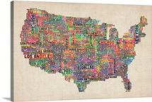 Maps Wall Art Canvas Prints Maps Panoramic Photos Posters - Map of the united states with cities