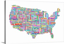 United States Cities Text Map, Multicolor on White