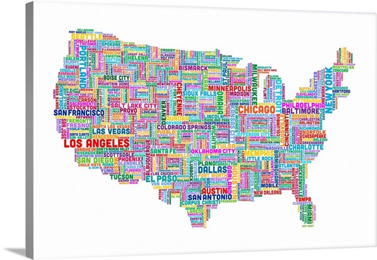 United States Cities Text Map, Multicolor on White Wall Art, Canvas ...