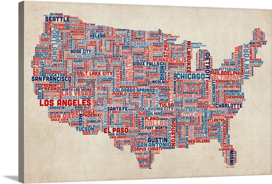 United States Cities Text Map US Colors On Parchment Wall Art - Map of the united states cities