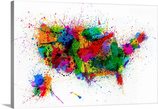 United States Paint Splashes Map Wall Art, Canvas Prints, Framed ...