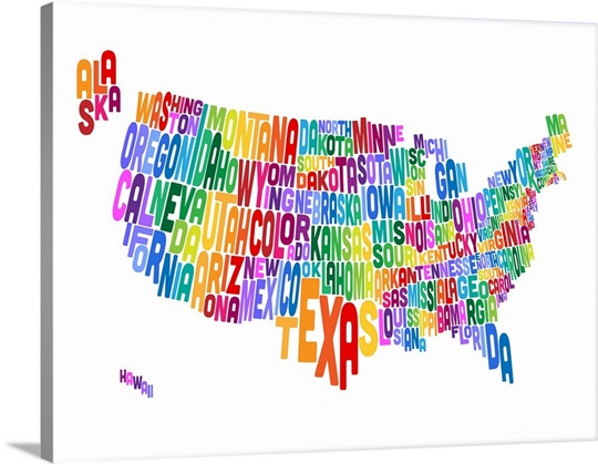 United States Typography Text Map Wall Art, Canvas Prints, Framed ...