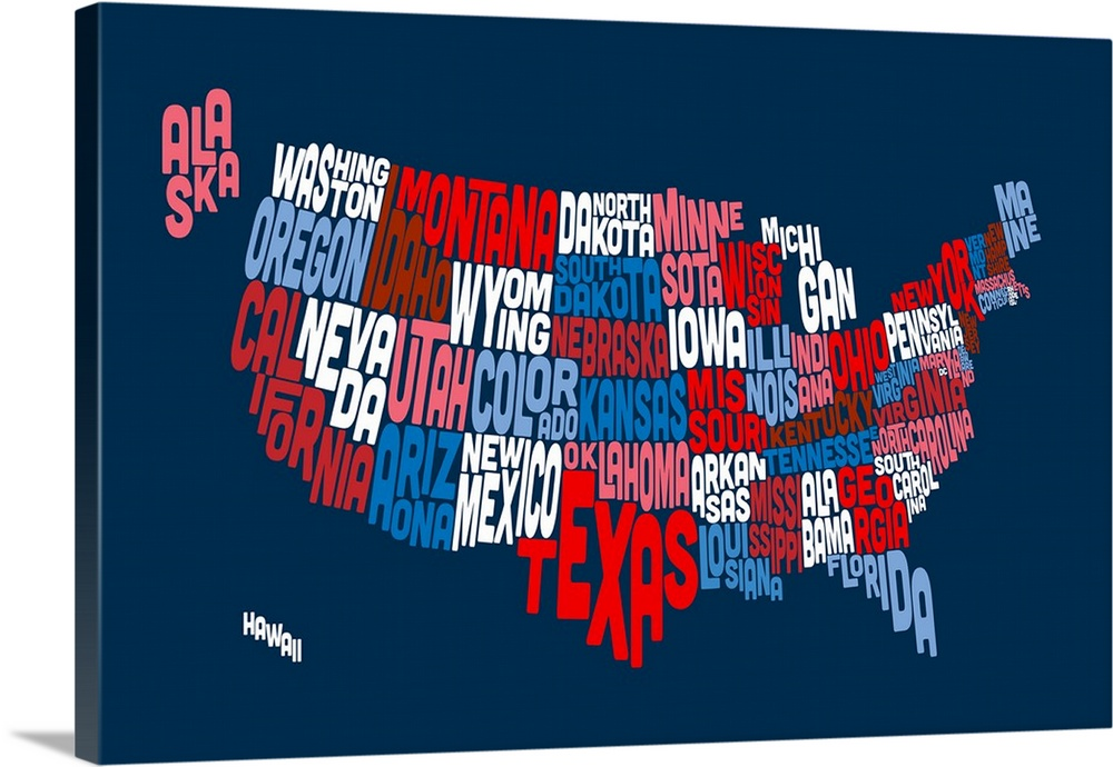United States Typography Text Map Red White and Blue Wall Art