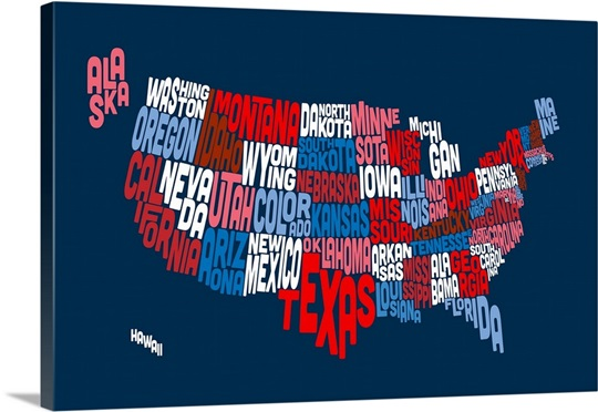 united states typography text map red white and blue wall