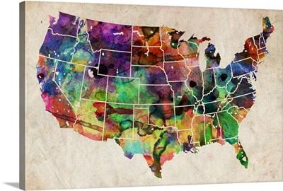 USA Watercolor Map