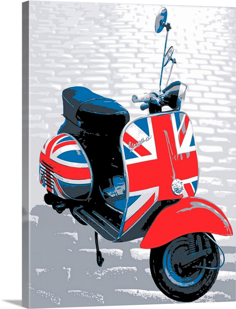 Vespa Scooter Mod Style Pop Art Print Wall Art Canvas Prints Framed Prints Wall Peels Great Big Canvas