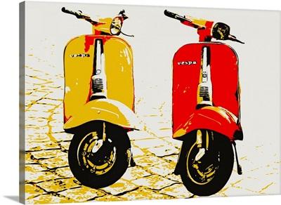 Vespa Scooters on Cobble Street, Pop Art