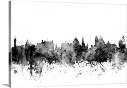 Victoria canada skyline black and white