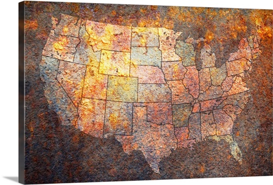 Vintage Rusty Map Of USA Wall Art Canvas Prints Framed Prints - Usa map vintage