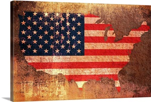 Vintage Stars And Stripes Map Of Usa Wall Art Canvas
