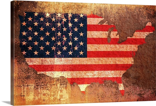 Vintage Stars And Stripes Map Of USA Wall Art Canvas Prints - Usa map vintage