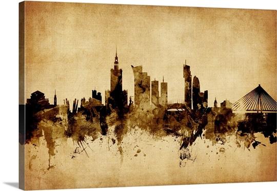 Warsaw Poland Skyline, Vintage Style Wall Art, Canvas Prints, Framed ...