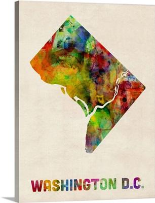 Washington DC, District of Columbia Watercolor Map