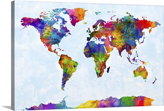 Watercolor Map of the World Map Wall Art, Canvas Prints, Framed ...