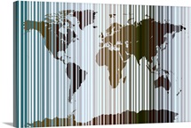 World Map Abstract Barcode