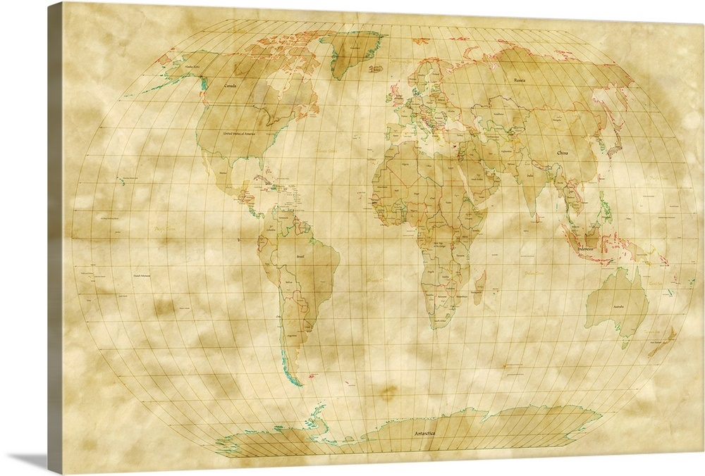World Map Antique Style Wall Art Canvas Prints Framed Prints Wall