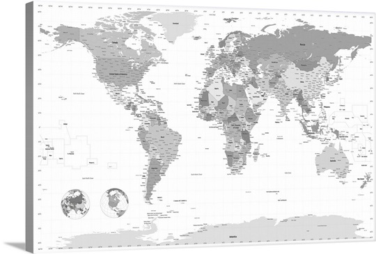 World Map black and white Wall Art Canvas Prints Framed Prints