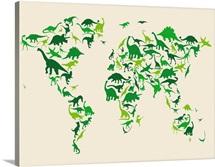 World Map Dinosaurs, Green