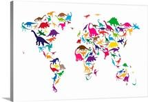 World Map Dinosaurs, Multicolor