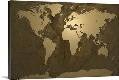 World Map Gold